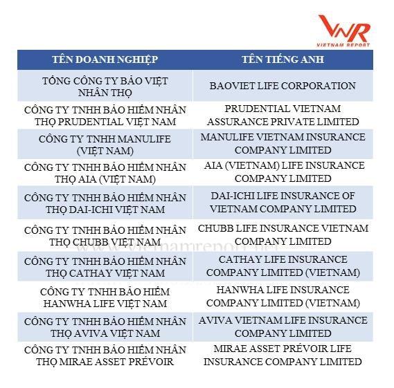 Nguồn: Vietnam Report, Top 10 Công ty bảo hiểm uy tín năm 2018, tháng 06/2018