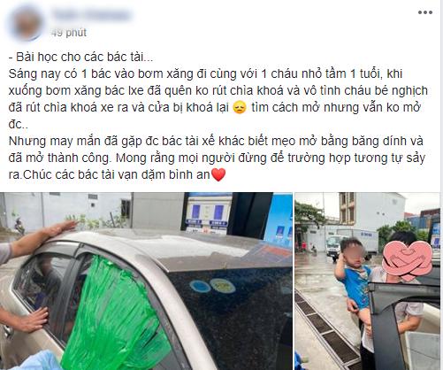 Để con nhỏ ngồi trên ô tô khi dừng đổ xăng, người đàn ông được phen hú vía khi quên rút chìa khóa xe - Ảnh 1.