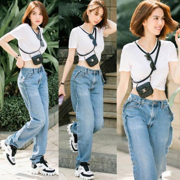 Cùng diện quần jeans đục lỗ, Mỹ Tâm sang bao nhiêu, Ngọc Trinh lại sến bấy nhiêu - Ảnh 12.