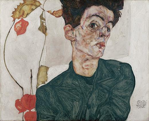 Tác phẩm Tự họa với cây hoa lồng đèn Trung Quốc của Egon Schiele