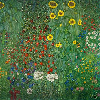 Tác phẩm Vườn quê và hoa hướng dương của Gustav Klimt