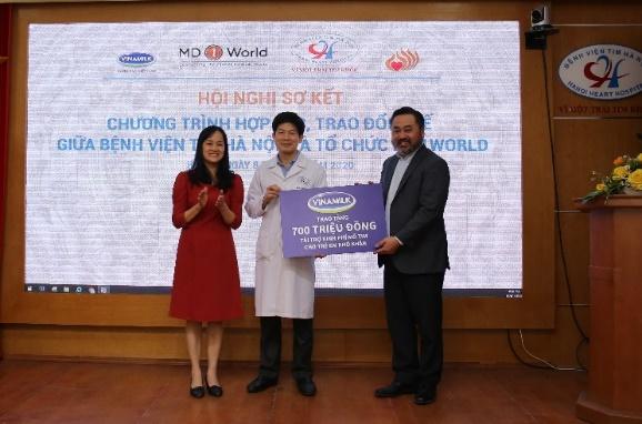 Vào tháng 01/2020, Vinamilk đã tiếp tục tài trợ cho bệnh viện tim Hà Nội và tổ chức MD1World để điều trị cho các bệnh nhi có hoàn cảnh khó khăn