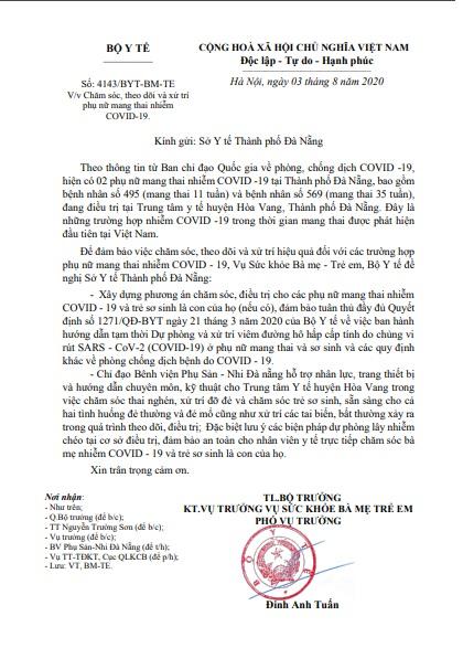 Yêu cầu chăm sóc, xử trí cho phụ nữ mang thai nhiễm Covid-19 tại Đà Nẵng - Ảnh 1.