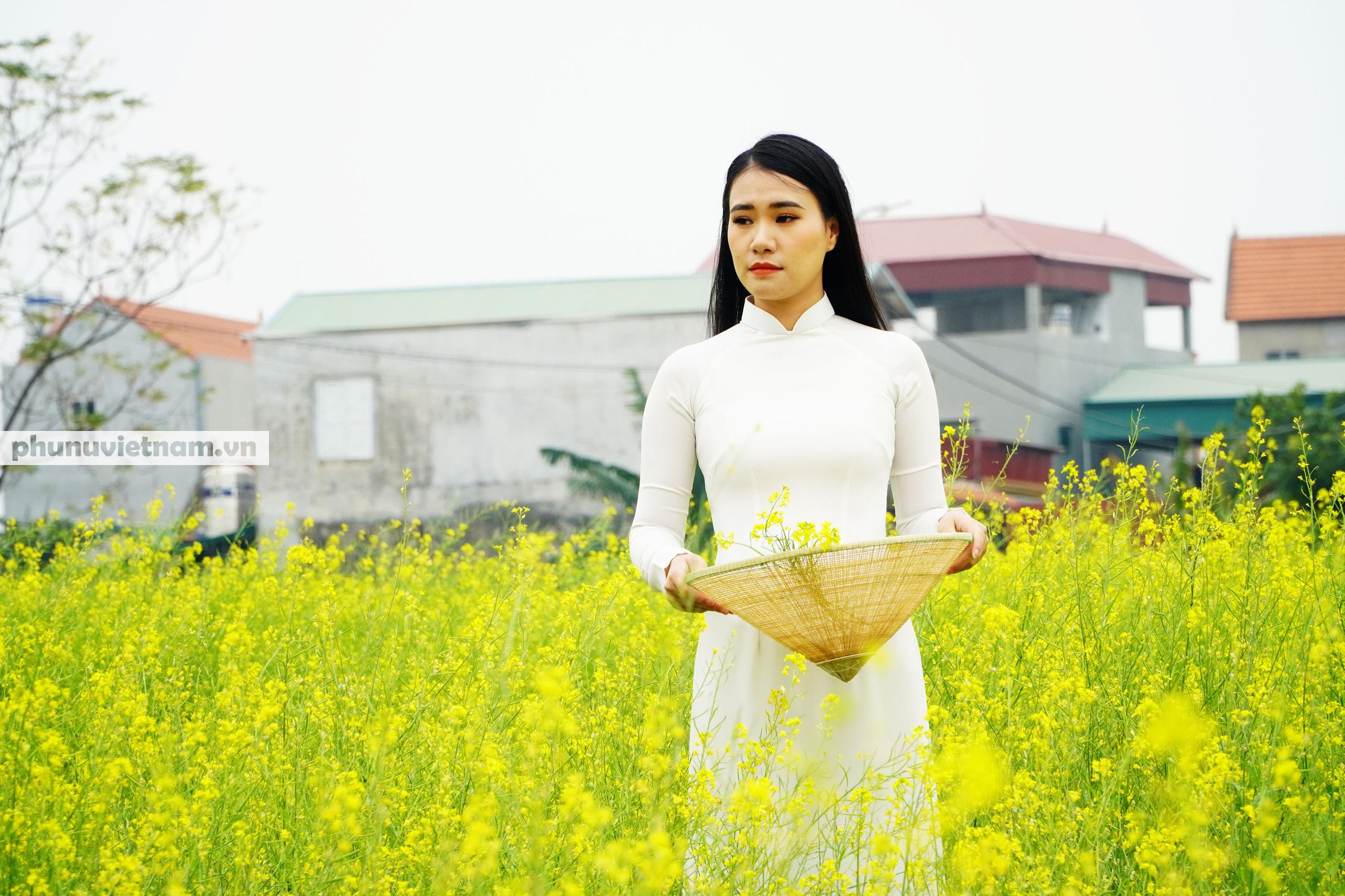 Thiếu nữ áo trắng đẹp hút lòng người trên cánh đồng hoa cải vàng ở Chi Đông - Ảnh 3.