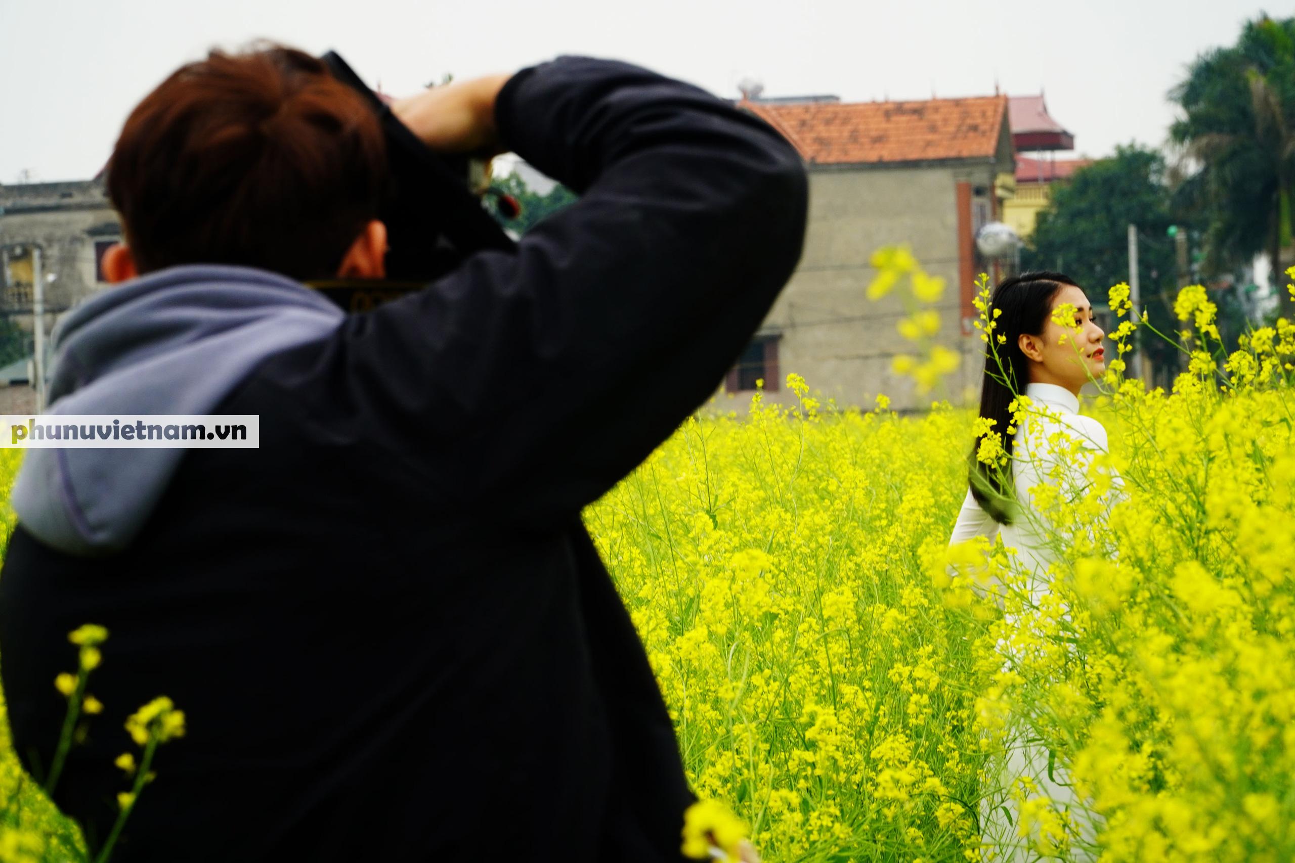 Thiếu nữ áo trắng đẹp hút lòng người trên cánh đồng hoa cải vàng ở Chi Đông - Ảnh 5.