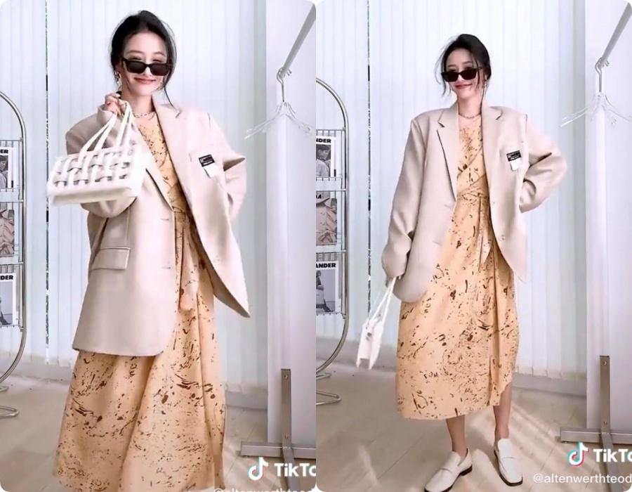 10 set đồ vối blazer mà nàng nào cũng có thể học lỏm theo từ hot girl Tiktok xứ Trung - Ảnh 1.