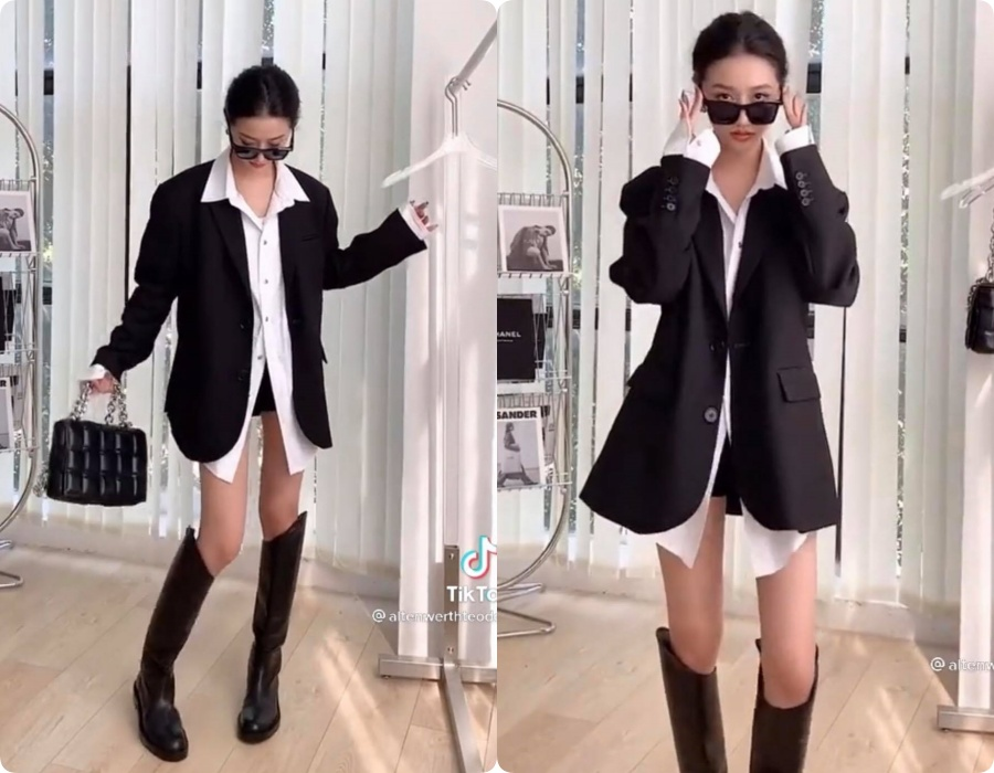 10 set đồ vối blazer mà nàng nào cũng có thể học lỏm theo từ hot girl Tiktok xứ Trung - Ảnh 2.