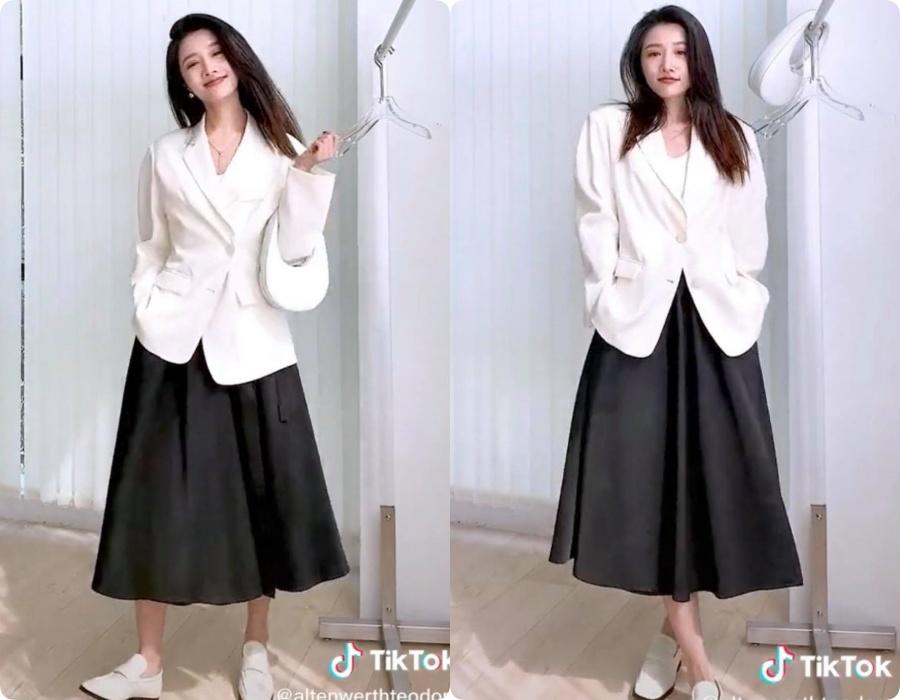 10 set đồ vối blazer mà nàng nào cũng có thể học lỏm theo từ hot girl Tiktok xứ Trung - Ảnh 3.