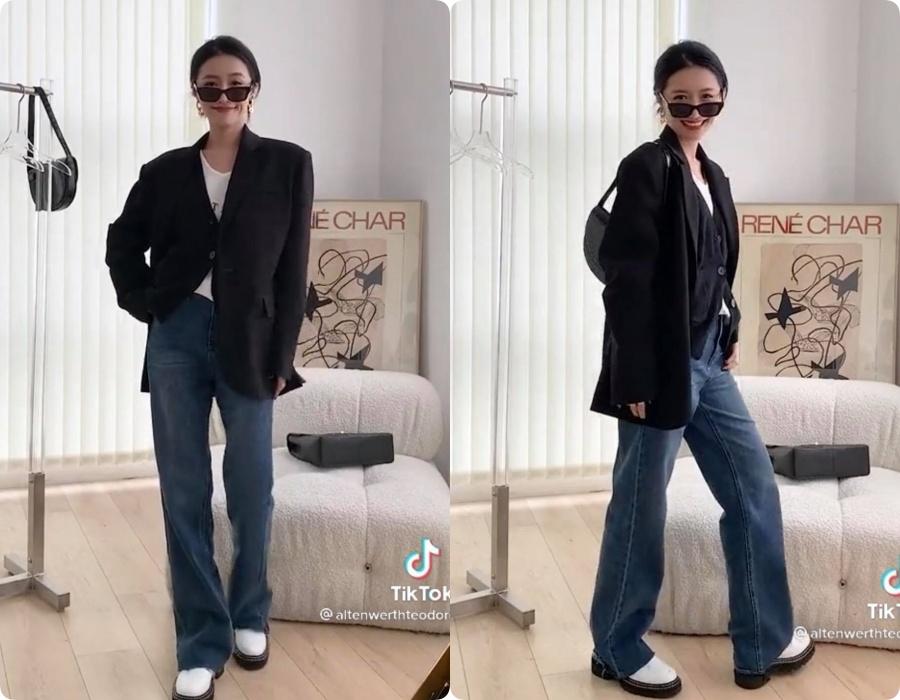 10 set đồ vối blazer mà nàng nào cũng có thể học lỏm theo từ hot girl Tiktok xứ Trung - Ảnh 7.