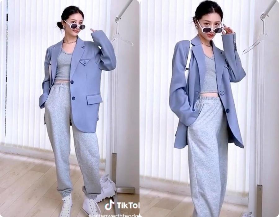 10 set đồ vối blazer mà nàng nào cũng có thể học lỏm theo từ hot girl Tiktok xứ Trung - Ảnh 8.