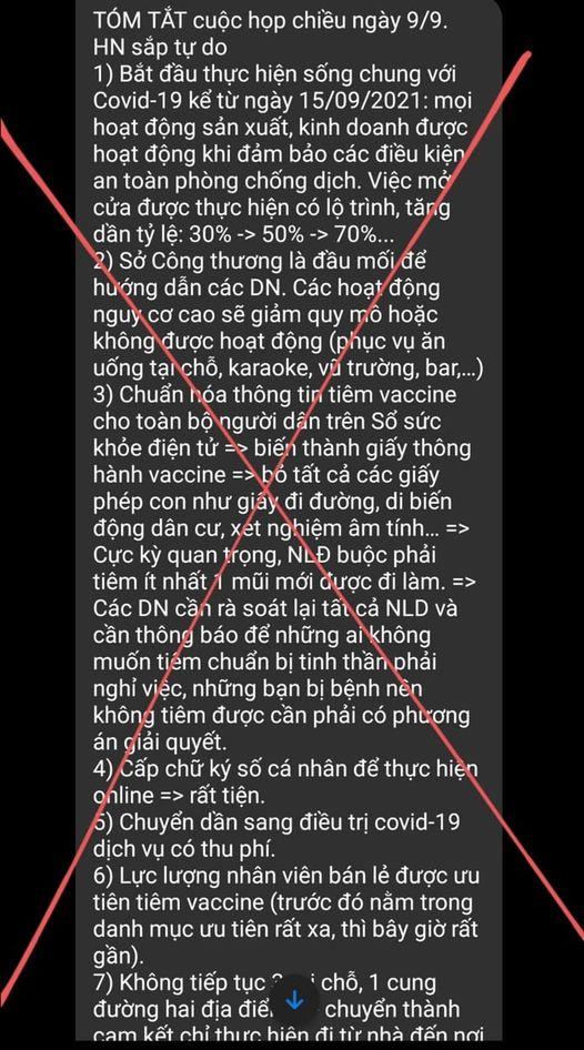 """Sở Thông tin & Truyền thông Hà Nội lên tiếng về thông tin""""sống chung với Covid-19 từ 15/9"""" - Ảnh 1."""