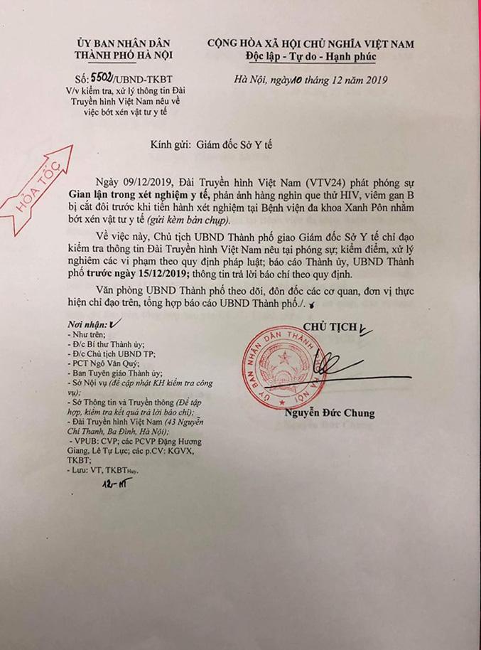 Công văn hỏa tốc của UBND TP.Hà Nội