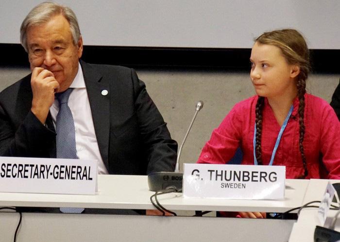 Greta Thunberg phát biểu cùng Tổng thư ký Liên hợp quốc Antonio Guterres