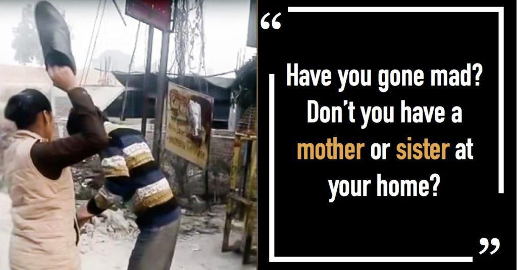 Clip nữ cảnh sát dùng giầy đánh người đàn ông trêu ghẹo nữ sinh gây hot mạng Ấn Độ - Ảnh 1.