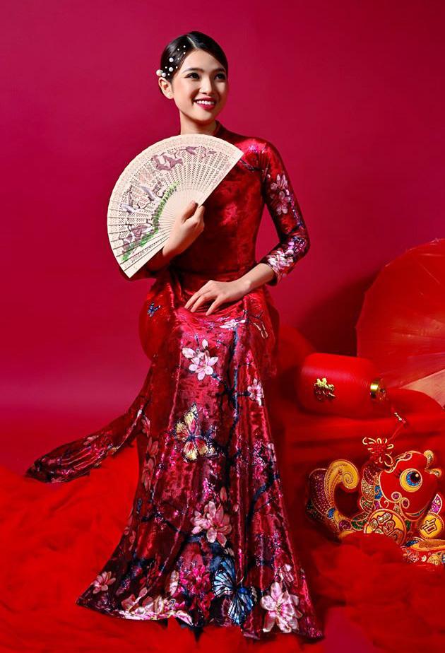 Dàn mỹ nhân Miss Photo diện áo dài đỏ rực đón Tết Canh Tý - Ảnh 7.