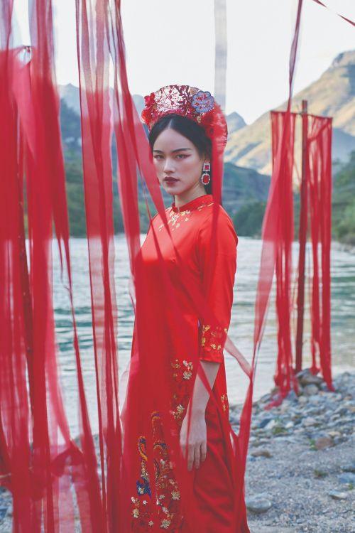 Ngắm họa tiết văn hóa cổ thời nhà Đinh, nhà Lê trên tà áo dài Tết  - Ảnh 2.