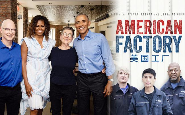 Vợ chồng cựu tổng thống Barack Obama cùng 2 đạo diễn Steven Bognar, Julia Reichert và toàn thể đội ngũ làm phim đã thắng giải Phim tài liệu xuất sắc nhất cho #AmericanFactory