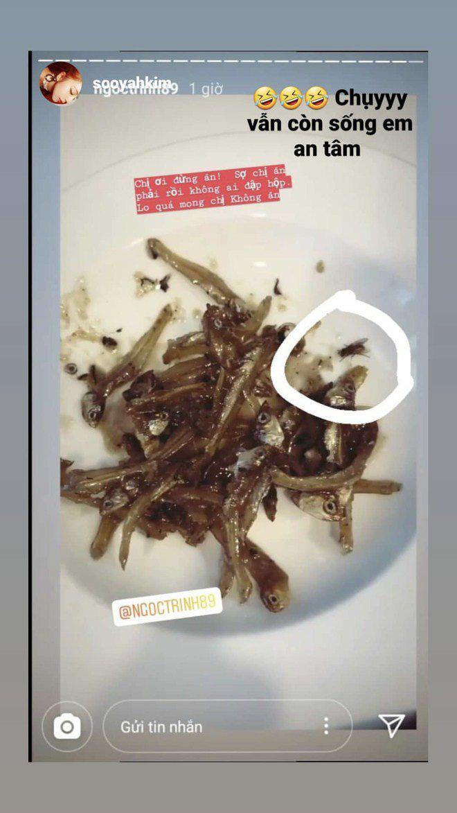 Ngọc Trinh khoe cảnh ăn cá khô, fan phát hiện con ruồi lù lù trên đĩa - Ảnh 6.