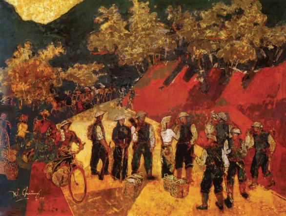 Tác phẩm Đường lên Điện Biên của họa sĩ Trần Khánh Chương