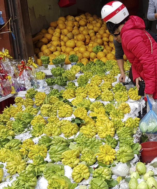 Phật thủ cũng được các cửa hàng bày bán thành từng dãy, với mức giá từ 30.000 đồng/trái