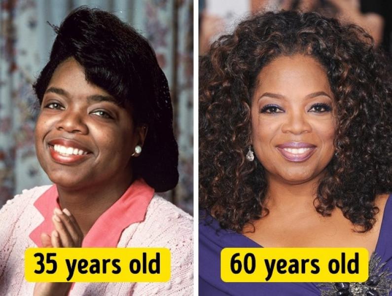 Không thể phủ nhận Oprah Winfrey năm 60 tuổi đẹp hơn hẳn so với thời 35 tuổi của mình.