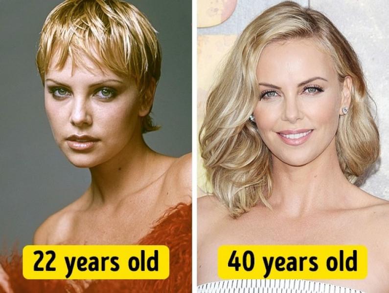 Nếu như khi ở tuổi 22, Charlize Theron sở hữu vẻ đẹp cá tính với mái tóc ngắn thì sau gần 20 năm, vẫn gương mặt xinh đẹp ấy, nữ diễn viên lại