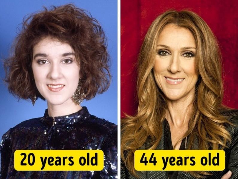 Có thể thấy Celine Dion năm 44 tuổi tươi tắn và rạng ngời hơn hẳn so với nụ cười gượng gạo của cô năm 20 tuổi.