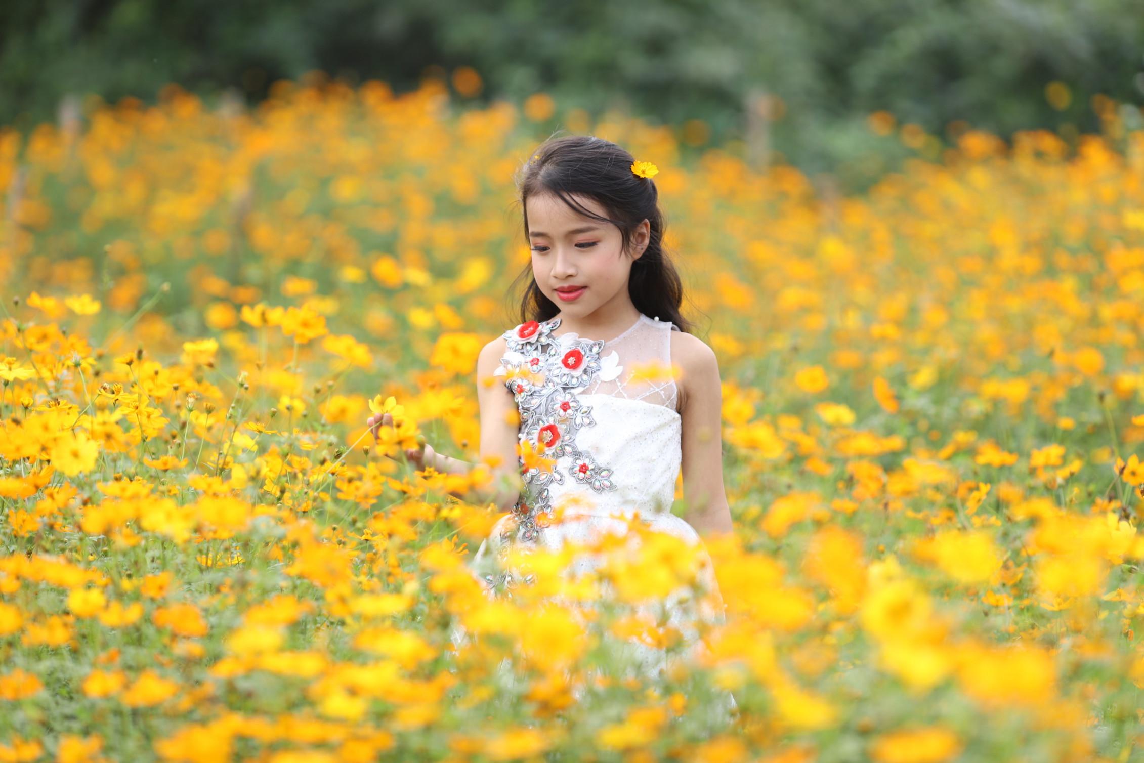 Tài năng nhí Nguyễn Trịnh Anh Thư (thành viên nhóm uốn dẻo Emmy) với bộ váy màu trắng giống một cô công chúa nhỏ trên cánh đồng hoa vàng. Ngoài khả năng uốn dẻo, Catwalk, Anh Thư có gương mặt xinh xắn và dịu dàng nên mới đây, cô bé được VTV mời tham gia đóng minh họa trong các phóng sự nhân vật.