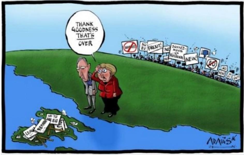 Thủ tướng Angela Merkel đứng ở bờ bên này chào tạm biệt nước Anh.
