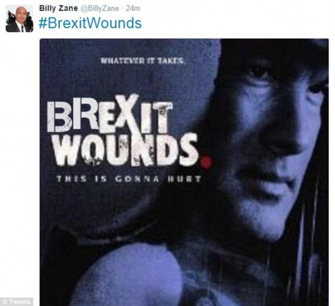 """Thậm chí họ còn chế ngay ra được cả một poster phim với tựa đề """"Brexit Wounds"""" (Tạm dịch: """"Vết thương mang tên Brexit"""" – Brexit là viết tắt của cụm từ Britain Exit)"""