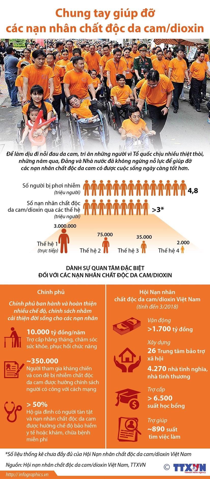 Hiện nay ở Việt Nam có 4,8 triệu người bị phơi nhiễm chất độc hóa học, trong đó có hơn 3 triệu người là nạn nhân chất độc da cam. Tuy nhiên, chỉ có gần 400.000 người được hưởng chính sách trợ cấp của nhà nước. Các nạn nhân rất cần sự chung tay giúp đỡ của cộng đồng để được chăm sóc sức khỏe và có thêm động lực vượt qua khó khăn trong cuộc sống.