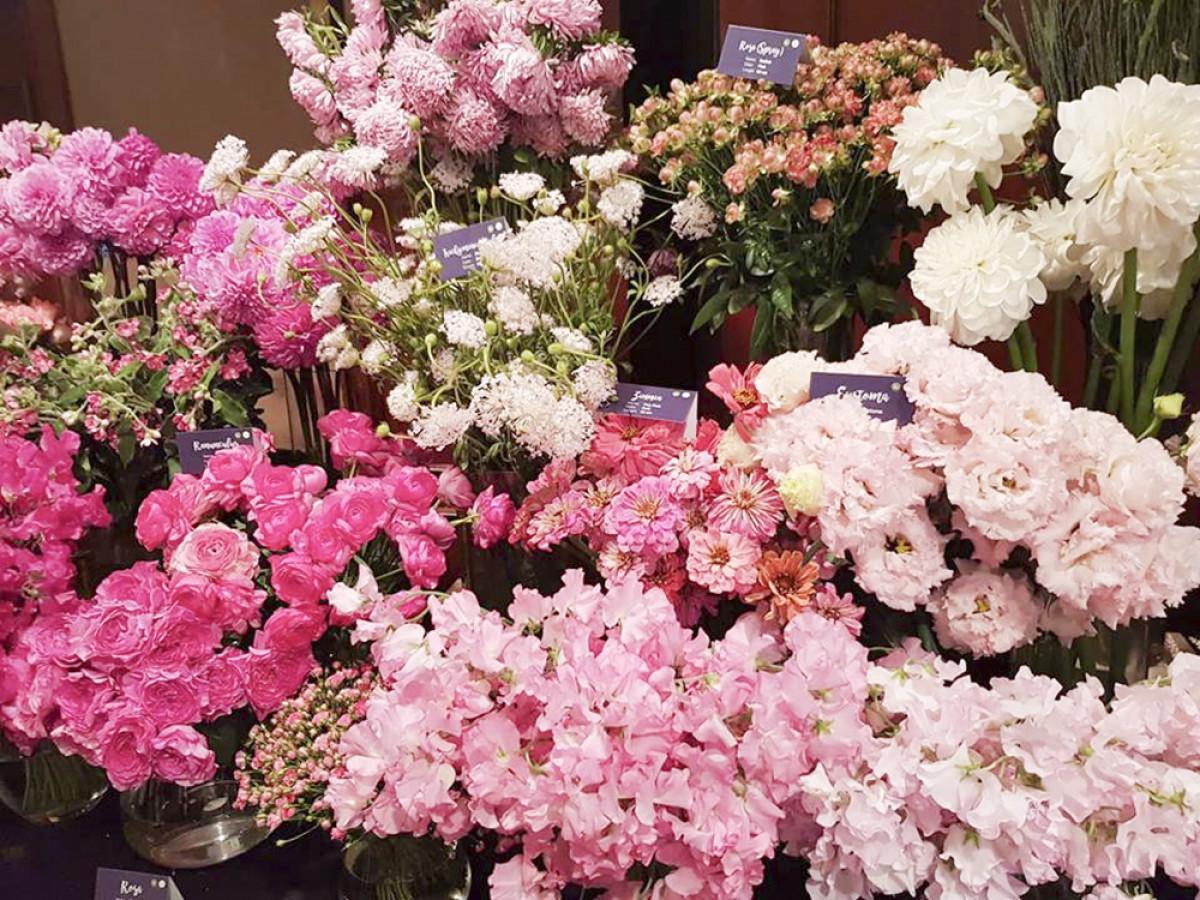 5.000 cành hoa tươi thuộc hàng trăn loài hoa khác nhau của xứ sở mặt trời mọc được trưng bày theo từng tông màu khác nhau: màu trắng, màu hồng, màu tím, màu vàng...