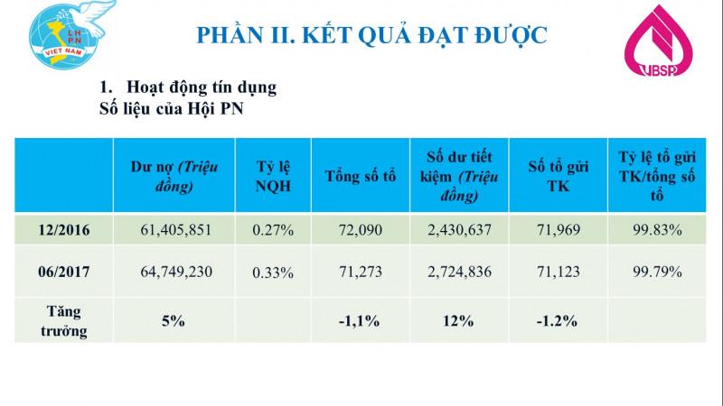Bảng số liệu kết quả hoạt động tín dụng ủy thác cho vay qua Hội LHPNVN