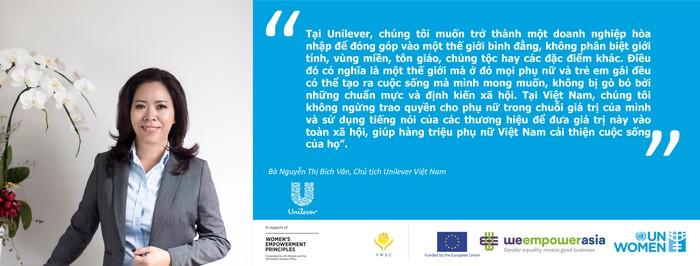 Ảnh bà Nguyễn Thị Bích Vân, Chủ tịch Unilever và cam kết
