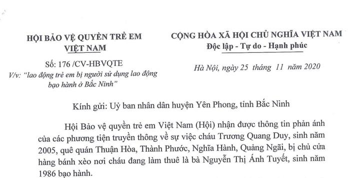 Hội Bảo vệ quyền trẻ em Việt Nam đề nghị Bắc Ninh nhanh chóng khởi tố hình sự vụ chủ tiệm bánh xèo đánh đập dã man trẻ em - Ảnh 1.