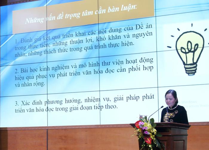 Vụ trưởng Vụ Thư viện Vũ Dương Thúy Ngà tổng kết Đề án Phát triển văn hóa đọc trong cộng đồng đến năm 2020, định hướng đến năm 2030