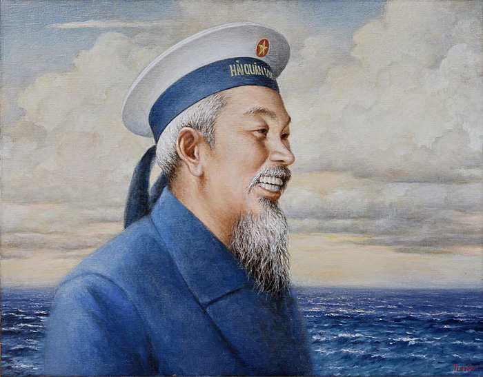 Họa sĩ Nguyễn Thu Thủy tặng tranh Bác Hồ tại Bộ Tư lệnh Hải quân - Ảnh 1.