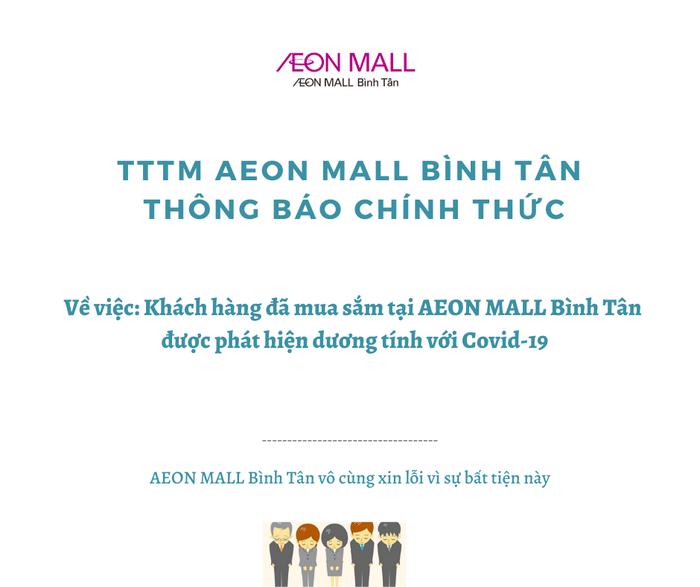 Aeon Mall Bình Tân ra thông báo về nữ khách hàng dương tính với Covid-19 - Ảnh 1.