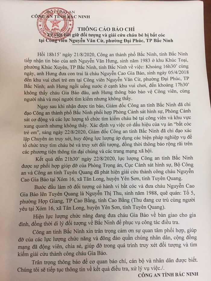 Giám đốc Công an tỉnh Bắc Ninh cảm ơn cộng đồng mạng trong vụ giải cứu bé trai 2 tuổi bị bắt cóc - Ảnh 1.