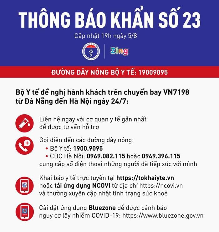 Bộ Y tế thông báo khẩn tìm hành khách chuyến bay VN7198 từ Đà Nẵng đến Hà Nội ngày 24/7 - Ảnh 1.