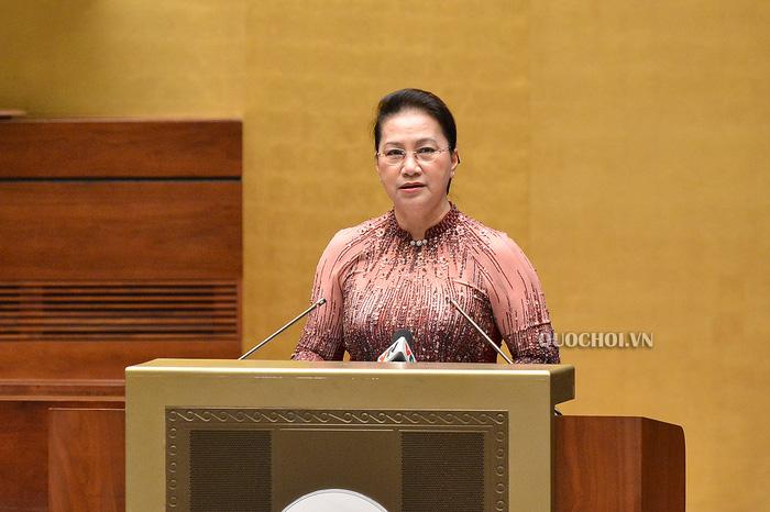 Chủ tịch Quốc hội Nguyễn Thị Kim Ngân phát biểu tại buổi gặp mặt.