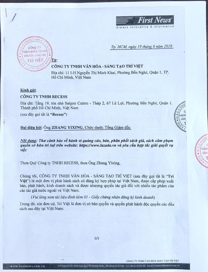 Công văn cảnh báo trực tiếp của First News gửi theo đường đảm bảo tới ông Zhang Yixing, Tổng giám đốc Lazada Việt Nam, vào ngày 19/8/2019