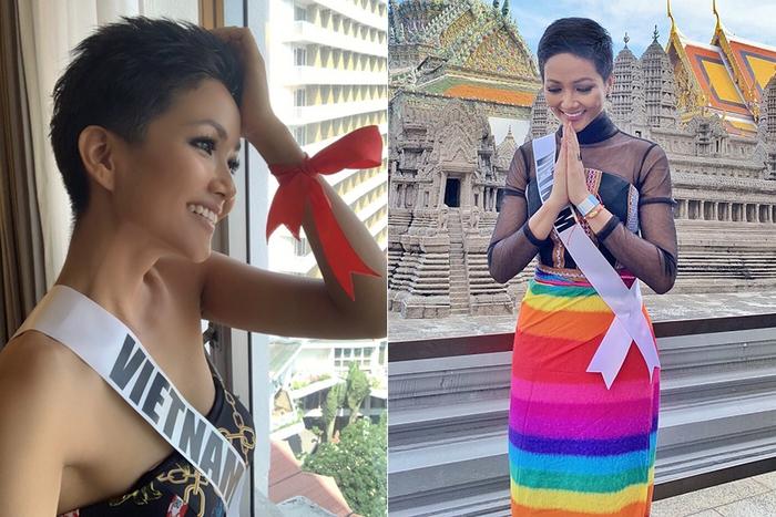 Học tập H'Hen Niê khi thi hoa hậu ở Thái Lan, Ngọc Thảo làm nức lòng fan với chiếc đầm ủng hộ LBGT  - Ảnh 3.