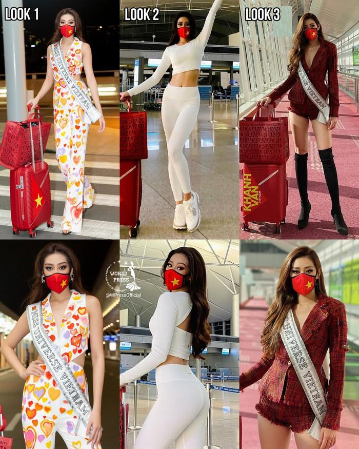 Khánh Vân liên tục thay trang phục trên đường bay đến Mỹ thi Hoa hậu Hoàn vũ - Ảnh 7.