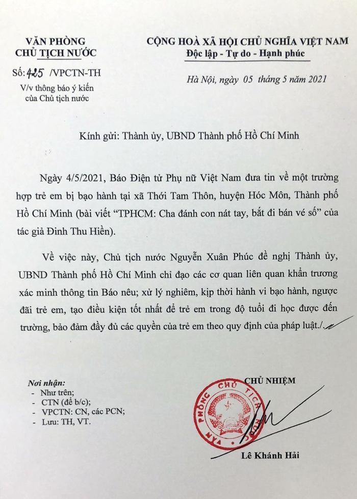 Vụ người cha tại Hóc Môn đánh con dã man do Báo PNVN phản ánh: Chủ tịch nước đề nghị xử lý nghiêm  - Ảnh 1.