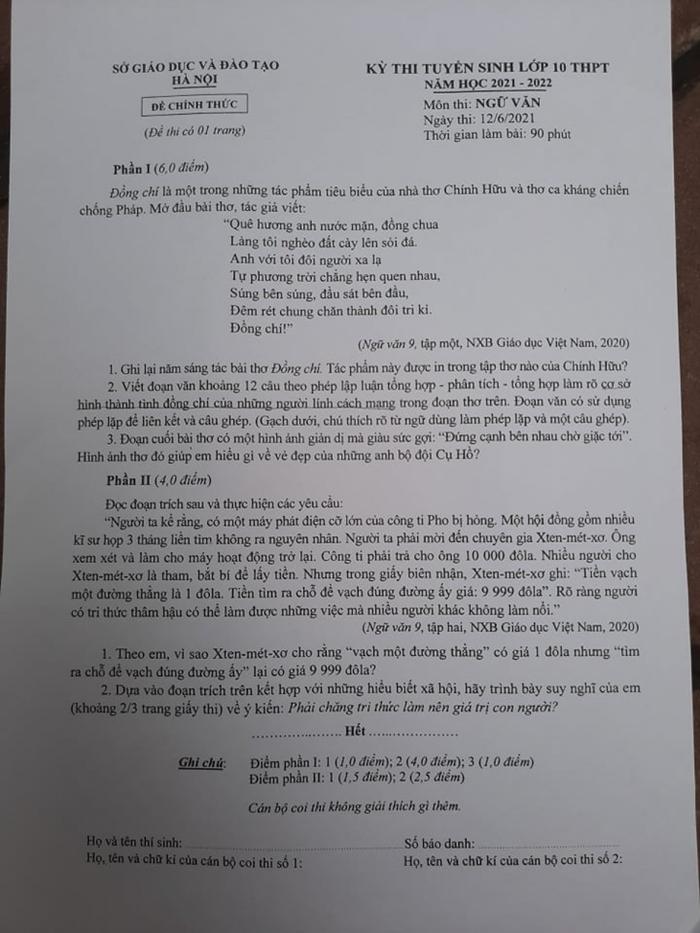 Đề Ngữ văn thi vào lớp 10 Hà Nội vừa sức, không đánh đố - Ảnh 1.