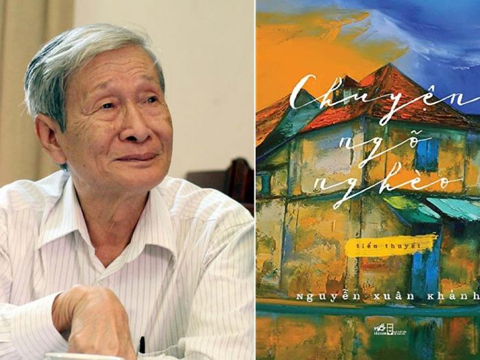 """Nhà văn Nguyễn Xuân Khánh và bìa cuốn tiểu thuyết """"Chuyện ngõ nghèo"""""""