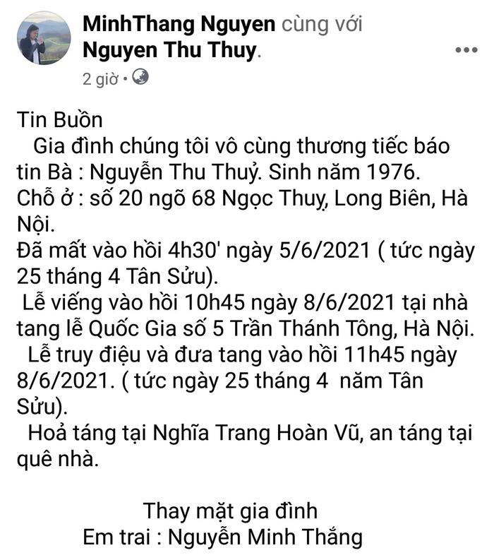 Bạn bè, người hâm mộ bàng hoàng trước thông tin Hoa hậu Thu Thủy đột ngột qua đời ở tuổi 45 - Ảnh 1.