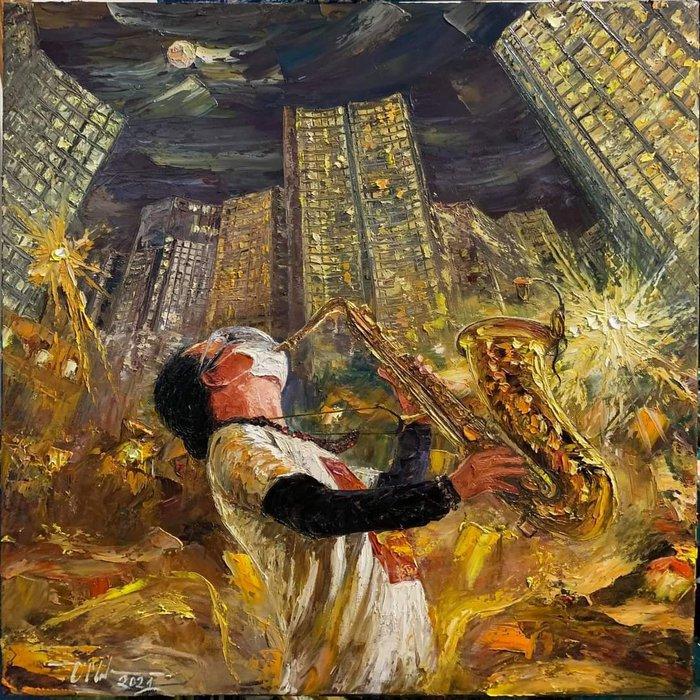 """Bức tranh sơn dầu của Manhtran MTr Art được vẽ ngay trong đêm với chia sẻ: """"Bài  Quê Hương hay nhất mình từng nghe"""""""