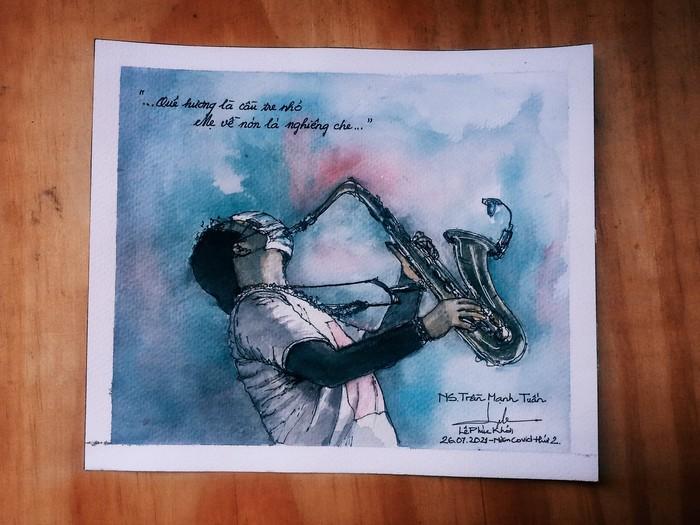 """Bức tranh màu nước của Phúc Khởi Lê với chia sẻ: """"Tình cờ xem được video của nghệ sĩ Trần Mạnh Tuấn biểu diễn saxophone bài Quê Hương ở khu cách ly Thủ Đức. Lúc đó mình rất là xúc động, cảm xúc dâng trào muốn khóc luôn ấy. Ngay hôm sau mình muốn phải vẽ cho bằng được khoảnh khắc xúc động này, và mình vẽ bằng """"full 100%"""" cảm xúc luôn, vừa vẽ mà vừa rưng rưng theo tiếng kèn bài Quê Hương"""""""